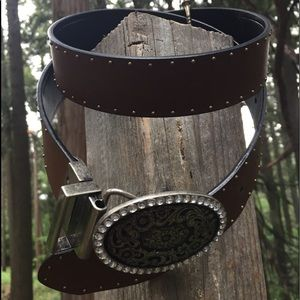 Accessories - Reversible black and brown leather belt